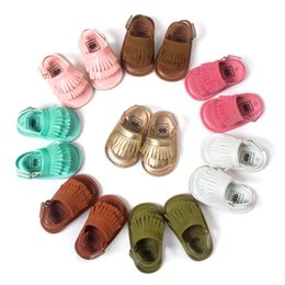 Wholesale Gray Infant Sandals - 2016 New Summer baby moccasins tassel sandals baby shoes Leather prewalker Infant Babies Shoes for Girls and Boys 8 colors