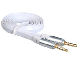 Wholesale Cheap Earphone Plugs - 1 m 3.5 mm Plug Male to Male Earphone Flat Audio Extension Cable (White) Cheap cable plug usb