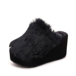 Wholesale Border Print Fabric - 2017 New Winter Plush Slippers With Korean Muffin Heels Platform Non-slip Women Slippers
