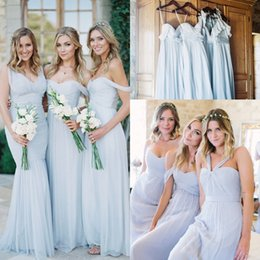 Wholesale Cheap Dresses For Proms - Cheap Long Chiffon Bridesmaid Dresses 2018 New 5 Mixed Styles Floor Length Elegant Garden Bridesmaid Gowns for Weddings Prom Party Dress