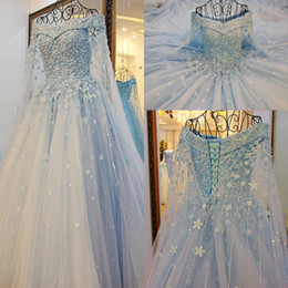 Wholesale Tulle Appliques Beads Handmade Flowers - Amazing Sky Blue Handmade Flowers Wedding Dresses 2017 Pearls Beaded Off Shoulder Tulle Bridal Gowns A Line Wedding Dresses