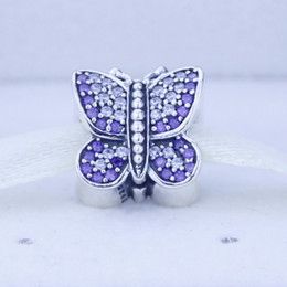 Wholesale Loose Cz - Loose beads Fits Pandora Original Charms Bracelet Genuine 925 Sterling Silver beads DIY butterfly Charms with AAA CZ 1PC lot