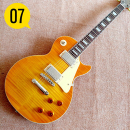 Wholesale Strings For Guitars - Yellow NEW 1959 R9 les Tiger Flame paul electric guitar Standard LP 59 electric guitar in stock EMS free shipping
