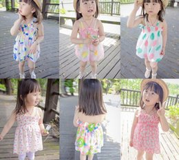 Wholesale Dress Necklace Chiffon - 2016 Summer New Girl Dress Floral Chiffon Ruffle Slip Dress Wholesale Children Clothing Not Have Necklace 0-3T XY8527