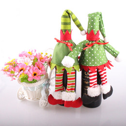 Wholesale Christmas Elf Clothes - Hot Sale 2PCS Xmas Christmas Elf Red Wine Bottle Sets Cover with Christmas Hat & Clothes for Christmas Dinner Decoration Home Halloween Gift