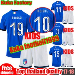 Wholesale Italy World Cup Jerseys - Italy 2018 World Cup kids Kits Home Youth Jersey 17 18 De Rossi Bonucci Verratti Chiellini INSIGNE Belotti Jerseys Italy Football Uniforms