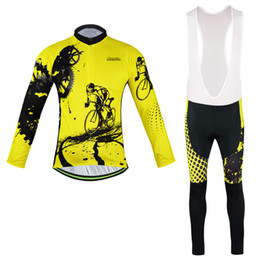 Wholesale Road Bike Pants - 2016 New arrive yellow long sleeve jersey Cycling Suits Cycling Kit cycling jersey cycling jersey Bike Suit Road Cycling Kit bib pants