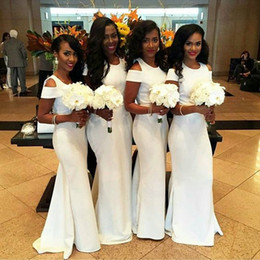 Wholesale Wedding Guest Dresses Long Sexy - White African Mermaid Bridesmaid Dresses 2017 Fashion Short Sleeves Wedding Guest Dresses Custom Made Sexy Sleeved Long Maid Of Honor