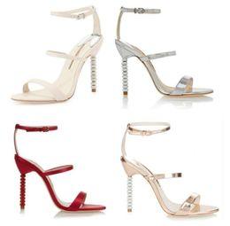Wholesale Size Eur 42 - Sophia Webster Rosalind Crystal-Heel Metallic Leather Sandals Stiletto Heels Ankle Strap Sandals EUR Size 34-42