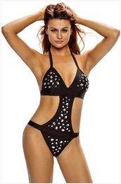 Wholesale Rhinestone Halter Bikini - Hot Womens Summer Sexy Halter Rhinestone One Piece Swimwear For Ladies Backless Teddies Bikinis Beach Wear Swimsuits Bathing Suits