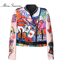 Wholesale Graffiti Colorful - Wholesale- 2017 Women Spring Jacket Space Cotton Heavy Cute Cartoon Graffiti Printing Street Short Colorful Motorcycle Graffiti Coat MF6619