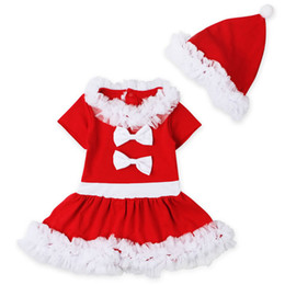 Wholesale Birthday Tutu Outfits For Girls - Christmas Birthday Outfits For Baby Girl Lace Party Set Clothes Kid Red Hat+Bow Dresses 2PC Suit Children Boutique Clothing Tracksuit