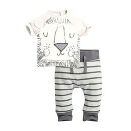 Wholesale New Set Boy - New 2016 Summer Infant Clothes Baby Clothing Sets Baby Girl Boy Cotton Little Monsters Lions Short Sleeve 2pcs Baby Boy Clothes