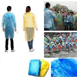 Wholesale Travel Emergency Poncho - Disposable Raincoat Adult One-time Emergency Waterproof Hood Poncho Travel Camping Must Rain Coat Outdoor Rain Wear OOA3356
