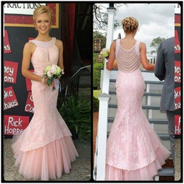 Wholesale Long Dresses For Prom Green - Charming Mermaid Pink Long Evening Dress 2017 Pearls Beaded Scoop Neck Lace Women Pageant Gown for Formal Prom Party vestido de festa