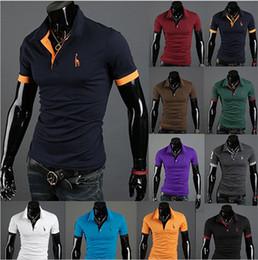 Wholesale Wholesale Men Polo T Shirts - Wholesale 2017 Autumn New Polo Shirt For Men Fawn Embroidery Luxury Casual Slim Fit Stylish T Shirt With Short Sleeve 6 Colors M-3XL