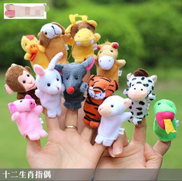 Wholesale Hand Puppet Plush Doll Children - Chinese Zodiac 12pcs lot Animals Cartoon Biological Finger Puppet Plush Toys Dolls Child Baby Favor Finger Doll Free shipping