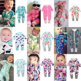 Wholesale Cheap Winter Newborn Clothes - INS Baby Jumpsuits Cartoon Floral Printing Rompers Newborn Autumn Long Sleeve Cotton Clothing Cheap Factory Free DHL 437