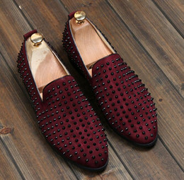 Wholesale Pointy Wedges - Brand new free shipping Fashion Mens Punk Studded Rivet Spike Suede Pointy Loafer Casual Dress Shoes EU size 38-43