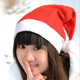 Wholesale Cheap Christmas Costumes - Christmas Hats Party Santa Hats Red And White Cap Cheap Santa Claus Hat For Santa Claus Costume Christmas Decoration for kids adult
