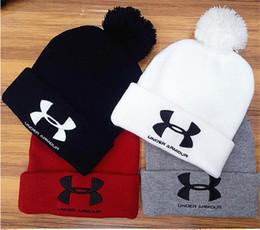 Wholesale Wholesale Men Fur - Unisex UA Knitted Hats Winter Fur Poms Beanie Fedora Brand UA Under Skull Caps Men Women Crochet Hat Armor Gorros Headgear Outdoor Hats