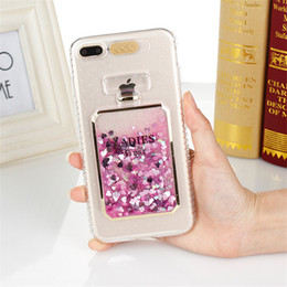 Wholesale Rose Perfume Bottles - New Fashion Bling Liquid Perfume Bottles Case For iPhone 7 Luxury Glitter Calling Flash Light Back Cover for iPhone 6 6s 7 Plus