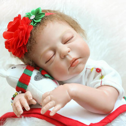 """Wholesale Real Plastic Dolls - 22"""" Anatomically Correct So Truly Real Lifelike Baby Doll Girls Christmas Gift Doll in Red Dress"""