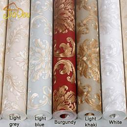 Wholesale Damascus Wallpaper - European Luxury Damascus 3D Embossed Washable Vinyl Wallpaper Home Decor Papel De Parede PVC Living Room Background Wall Paper