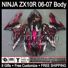 Wholesale Corona Black - 8Gifts For KAWASAKI NINJA ZX10R 06-07 Body Pink CORONA ZX 10R 20Y147 10 R ZX-10R 10R 2006 2007 06 07 Pink black Free customized Fairing Kit