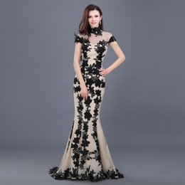Wholesale Chiffon Sample - Elegant Cheaper Long Black Sexy Mermaid Formal Evening Dress 2016 High neck Lace appliques Long Image Sample Gown