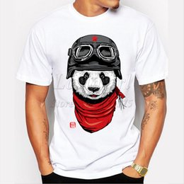 Wholesale panda tee shirts - Newest 2016 men's fashion short sleeve cute panda printed t-shirt Harajuku funny tee shirts Hipster O-neck cool tops