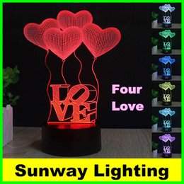 Wholesale Christmas Trees Toys - New Four LED Night Light Love and Abstraction 7 color changing 3D illusion LED lamp for kids toy Christmas gifts