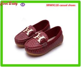 Wholesale Korean Kids Shoes Wholesale - Spring Summer Leather Shoe Children Shoe Korean Fashion Tide Big boy Casual Shoes Peas letter X Shoes 4Colors For 0-5years Olds Kids XRWX118