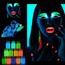 Wholesale Wholesale Glow Dark Powder - Wholesale- Face Body Skin Makeup Luminous Painting Stage Party Glow in Dark Paint Powder