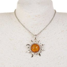 Wholesale Sun Flower Charm Necklaces - Hot sale fashion sun flower charm pendants faux amber collar necklaces women plating silver long necklaces jewelry
