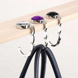 Wholesale Crystal Holder Hooks - Wholesale-1pcs Folded Handbag Bag Hook Hanger Holder Alloy Fashion Crystal Rhinestone Hot Selling