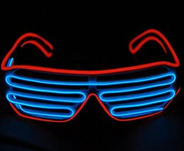 Nova LED EL Fio neon piscando Óculos para o natal do dia das bruxas do dia das bruxas neon party traje decoração do partido suprimentos moda óculos de Fornecedores de grinaldas iluminadas por atacado