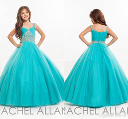 Wholesale Teens Cheap Long Dresses - Cheap Long Girls Pageant Dresses for Teens Ball Gown Beaded Spaghetti Sky Blue Tulle 2016 Little Baby Party Birthday Gowns Flower Girl Dress