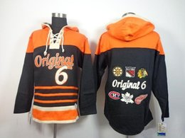 Wholesale Original Sweatshirts - 2016 New Cheap Ice Hockey Jerseys Originals #6 Black Old Time Hockey Hoodies 100% Emboridered Sweatshirt size S-3XL Ice Hockey Hoodies