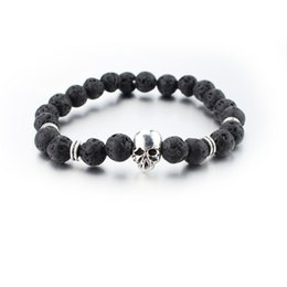 Wholesale Onyx Mm - New design yoga jewelry 8 mm and ancient lava stone beads silver bracelet skull men jewelry Wholesale