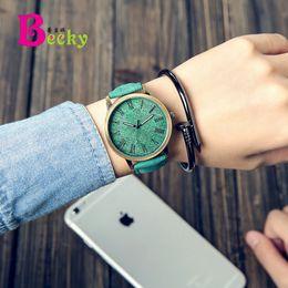 Correas de reloj de imitacion online-Versión coreana The New Retro Imitation jeans patrón popular Multicolor Simple Leather belt Sin lona correa Ver