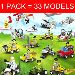 Wholesale Toy Fire Truck Models - 1 pack=33 models Plastic building blocks educational toys self-assembly toys space ship+military car + construction car + fire truck
