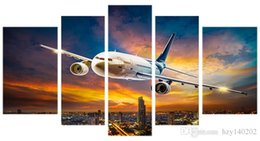 Wholesale Canvas Painting Aircraft - YIJIAHE Q74 Canvas Painting Art 5 Pieces aircraft Wall Art Pictures Print On Canvas Become Paintings To Decorate Your House Office ect.!!