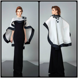 Wholesale Evening Dresses For Celebrities - Modest Black Evening Dresses with White Cape Dress abayas Appliques Long Custom Made Robe De Soiree Celebrity Gowns for sale