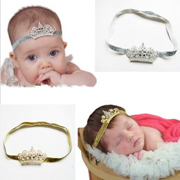 Wholesale Infant Princess Accessories - 7 Colors Lovely Baby Princess Crown Headband Baby Girl Hair Accessories Tiara Infant Elastic Hair Bands Newborn Shiny Head Wrap headband