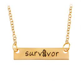 Wholesale Survivor Man - Survivor Bar Long Necklace & Pendants For Women Men Ribbon Gold Silver Letters Chain Charm Simple Fashion Jewelry New Year Gift