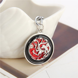 Wholesale black dragon jewelry - jewelry Keyrings New Design game of thrones High Quality The Songs of Ice And Fire Keychain Targaryen Dragon jon snow enamel Key Chains