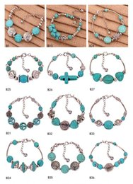 Bracelet tibétain argent turquoise 12 pièces de femmes flambant neuf style mixte, croix de fleur européenne breloque perles DFMTQB1 ? partir de fabricateur