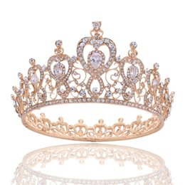 Wholesale Full Pageant Crown Tiaras - Elegant Full Round Queen Crown Tiara - Clear Crystal Princess Headpieces Hair Jewelry for Wedding Bride Clear Cubic Heart Pageant Prom Hair