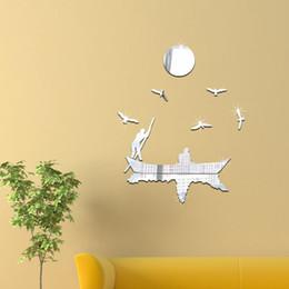 Wholesale Boat Mirror - Mirror stickers Seagull boat movement Creative 3D three-dimensional decorative acrylic mirror new 2016 European and American fashion